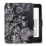WALNEW Protective Case for Amazon Kindle Voyage(2014) The Thinnest and Lightest Colorful Painting PU Leather Cover with Auto Sleep/Wake Function,Black Flower