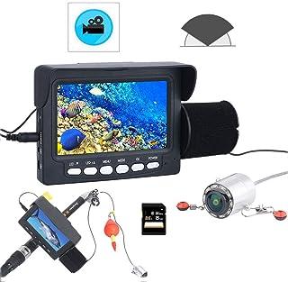 DMNSDD DVR Recorder Fish Finder, Kit de cámara de Video de Pesca subacuática portátil, 10PCS LED Night Vision Sea Wheel Ca...