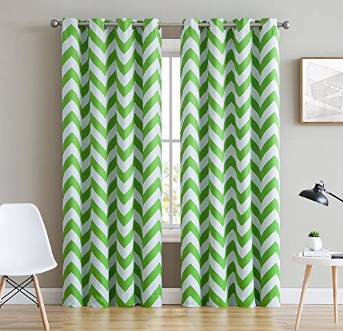 HLC.ME Chevron Print Thermal Insulated Blackout Window Curtain Panels, Pair, Chrome Grommet Top, Lime Green