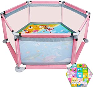 Baby Playpen  Playard for Baby Safety Play Pen for Infant and Baby  with Sturdy Bases  Indoor Safety Play Yard with Anti-Skid Pads  Lightweight  6-Panel