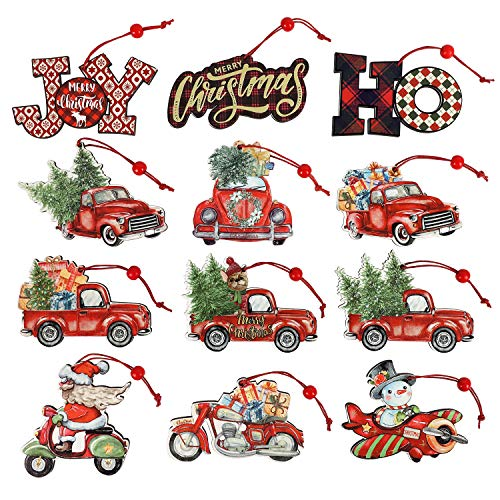 12 Pieces Christmas Ornaments Red Truck Christmas Tree Decoration Wooden Farmhouse Hanging Crafts