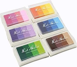 Craft Ink Pad, Set of 6 Washable DIY Stamp Ink Pads for Kids, 24 Colors