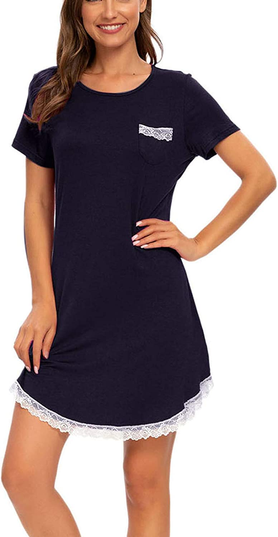 Women's Nightshirt Sexy Nightgown Round Neck Night Shirts Lace Trim Short Sleeve Sleep Shirt Dress