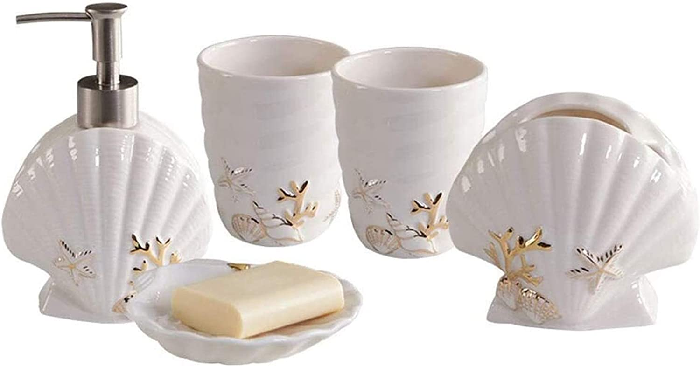 Refillable pump bottle Creative Shell Cheap bargain Bathroom Ceramic Cou Cash special price 5 Set