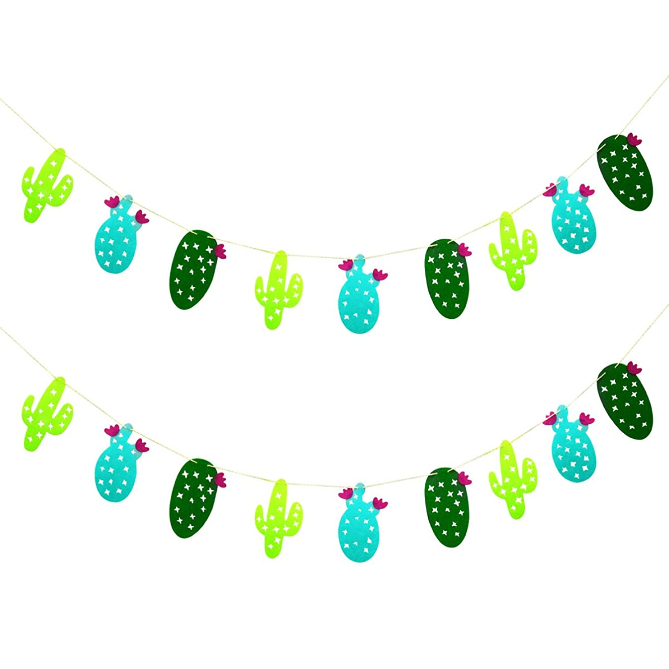 2 Pack Cactus Decoration Non-Woven Fabric Garland Banner for Birthday Party Festival Decoration (Cactus)