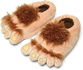 Men's Big Feet Furry Monster Adventure Slippers, Comfortable Novelty Warm Winter Hobbit Feet Slippers for Adults (Men: US 11) Brown