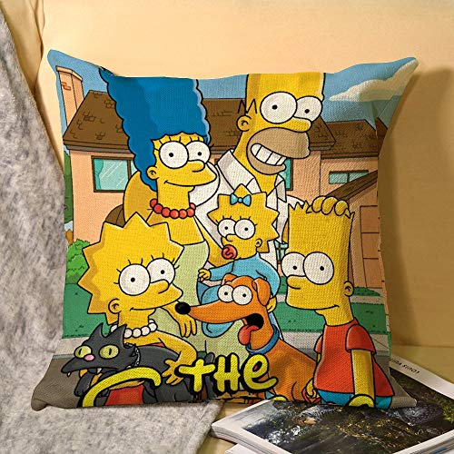 Simpson - Fundas de almohada decorativas (45 x 45 cm, lino suave, cuadrada), antiestáticas y transpirables
