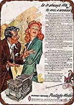 mefoll Wall Art Decor Signs 1953 Sexist Pitney-Bowes Postage Meter Ad Funny Metal Signs 12x16 Tin Sign Retro Home Decor Bar Decor by
