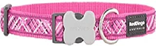 Red Dingo L6-FN-HP-20 Flanno Dog Collar, Medium-Large, Hot Pink