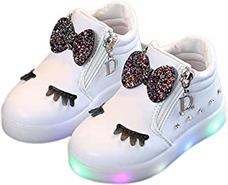 Hopscotch Girls PU Applique Bow Animal Sneaker Led Shoes in White Color