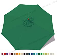 MasterCanopy (30+ Colors) 9ft Market Round Umbrella Adjustment Replacement Canopy 8 Ribs(Canopy Only) (Forest Green)