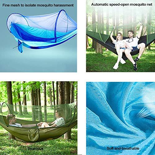 HUANXI Tragbar Doppelt Hängeliege Outdoor mit Aufbewahrungstasche + Gurt,300kg Tragfähigkeit (250x120cm) Blau Balkon Schaukel für Indoor Outdoor Wandercamping - 3