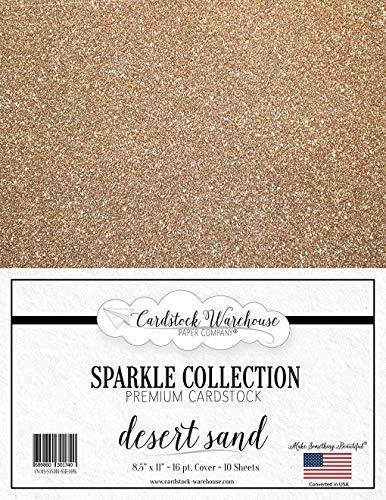Mirrisparkle Desert Sand Glitter Cardstock Paper from Cardstock Warehouse 8.5 X 11 Inch- 16 Pt/280gsm - 10 Sheets