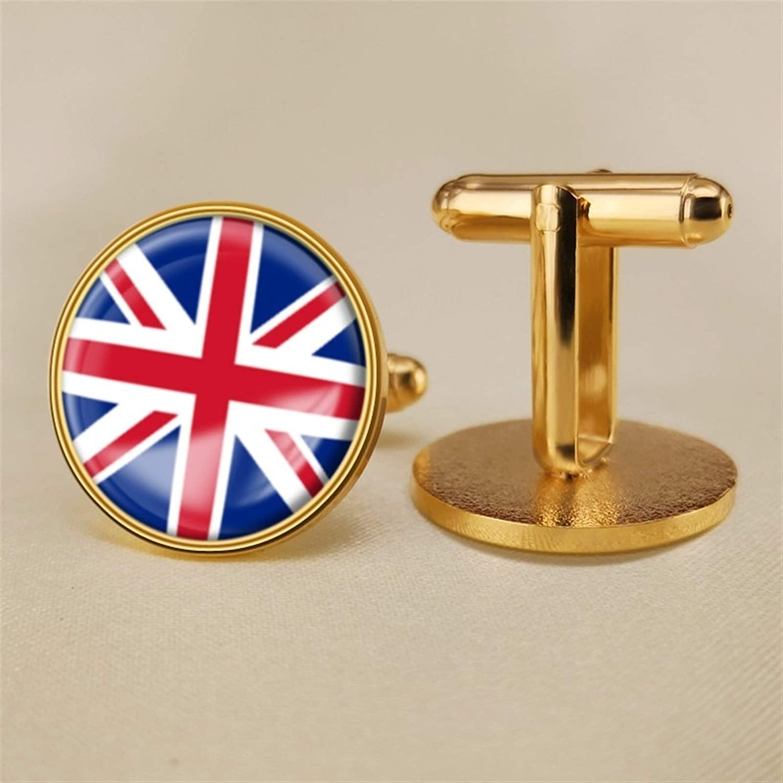 YYOBK Boys' Cuff Links,Men's Cuff Links,Shirt Studs,Sports Fan Cuff Links,British Flag Cufflinks,Union Jack Cufflinks,Round Cufflinks, Copper 19mm (Color : Gold, Size : 19mm)