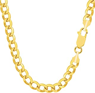 "TheDiamondDeal Mens Lightweight 14K Yellow Gold Or Gold 6.2mm Shiny Hollow Cuban Comfort Curb Chain Necklace For men for Pendants and Charms with Lobster-Claw Clasp (18"", 20"" 22"" or 24 inch)"