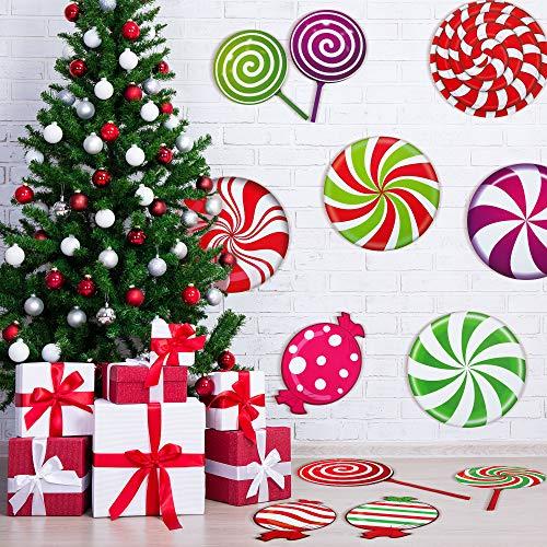 30 Piezas Pegatinas Calcomanías de Suelo de Menta Pegatinas Calcomanías de Suelo Redondas de Caramelos Piruletas de Colores para Decoración Fiesta Navidad, Pegatinas de Navidad de Pared