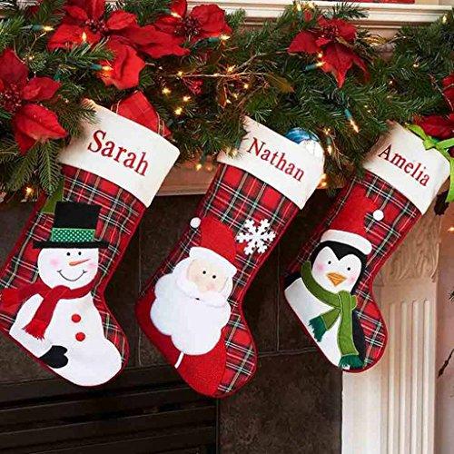 DIBSIES Personalization Station Personalized Plaid Christmas Stocking (Santa)