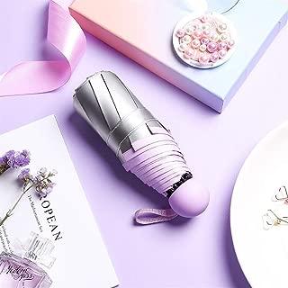 AUWANGAOFEI Titanium Silver Paste Half of Sun Umbrella Small Fresh Lightweight Collapsible Dual Pocket Barometer (Color : Purple, Size : 21)