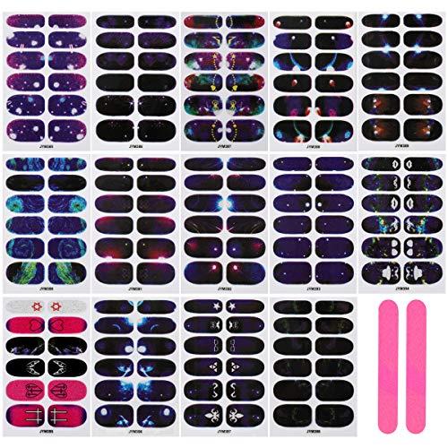 MWOOT Nagelfolie Sticker (14Stk), Selbstklebend Nagelsticker für DIY Nagelkunst Maniküre, Schnell&Einfach Nageldesign Nagelaufkleber. Nagel Klebefolien - Sky Night Styles Nail Wraps