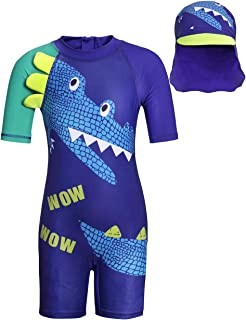 Cotrio Little Boys One-Piece Crocodile Rash Guard with Sun Hat Children Water Sport Swimsuit UPF 50+