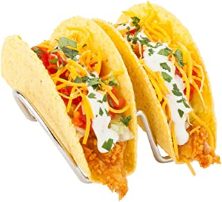 Double Taco Stand, Duo Taco Rack, Taco Holder Holds 2 Tacos - 4.2 Inches - Stainless Steel Construction - 1ct Box - Restau...