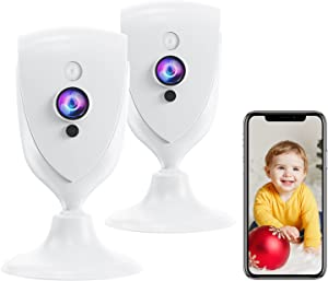 Pet Camera with Phone APP, 1080P Baby Camera with Sound Detection,Motion Alarm for Baby Monitor,IR Night Vison,WiFi Camera with Two Way Audio,Cloud/SD Storage,Work with Alexa, MIPC APP(2Pcs)
