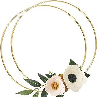DILNAZ ART 2 Pack 20 Inch Large Metal Floral Hoop Wreath Macrame Gold Hoop Rings for DIY Crafts Dream Catchers, Floral Mac...