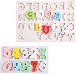 Number Chocolate Mold Silicone Letter Mold Candy Making Alphabet Fondant Molds Set of 2