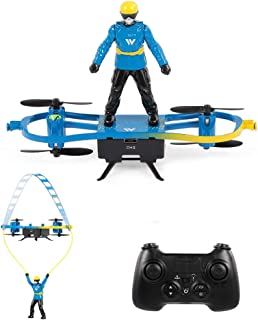 ATTOP Mini RC Drone Skater Shaped Aircraft Flight Mode Altitude Hold for Kids, Red/Blue