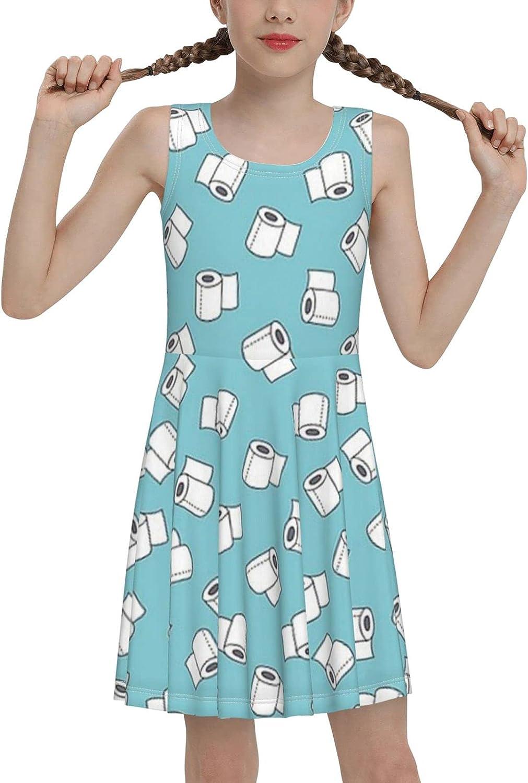 AMRANDOM Girl's Elegant Dress for Summer, Knee Length Breathable Sleeveless Sundress