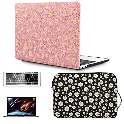 OneGET Laptop Case for MacBook Pro 13' (2020, with Touch Bar) w/Keyboard Cover+Flowers Sleeve+Screen Protector Leather A2338 M1 A2289/A2251 4 in 1 Bundle (2020 A2289/2251 Newest Pro 13'', CP02)