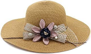 Summer hat Handmade Straw Hat Ladies Nonchalant Flower Design Women Summer Beach Hat Foldaway hat (Color : Coffee, Size : 56-58CM)