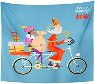 Tapestry Bike Christmas in Holland Sinterklaas His Helper Deliver on Tandem Bicycle Basket Home Decor Wall Hanging Living Room Bedroom Dorm 50x60 inches