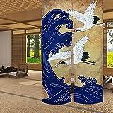 LIGICKY - Tenda in lino per porta noren, stile retrò, giapponese, con stampa a onde blu, motivo asiatico, per sushi, cucina, decorazione per la casa, 85 x 150 cm