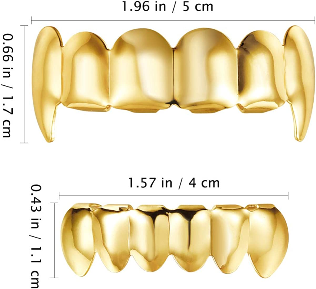 NUOBESTY Mouth Top Bottom Hip Hop Teeth, Gold Teeth Caps for Men and Women, Shiny Teeth Braces for Adults