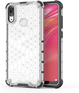 Fashion Phone case for Huawei Y7 2019/Y7 Prime 2019,Fashion Shockproof Honeycomb Design PC + TPU Protective Case (Color : Clear)