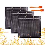 YBB 3 Pcs BBQ Grill Mesh Bag with 2 Pcs Silicone Brush, Non-Stick Large BBQ Baked Grilling PTFE Bag Heat-Resistant Reusable Easy to Clean Mesh Backing Bag for Outdoor Picnic Cooking Barbecue