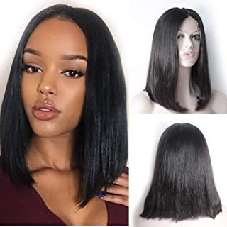 Forawme 13X6 Lace Front Human Hair Wigs For Black Women Natural Hairline 14 Inch Pre Plucked Bob Straight Wigs With Baby Hair Real Virgin Hair Deep Space Part Lace Wigs Company For Sale