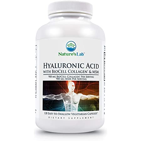 Nature's Lab Hyaluronic Acid with Biocell Collagen and MSM - Skin Hydration, Joint Lubrication, UVB Protection - 120 Capsules (40 Day Supply)