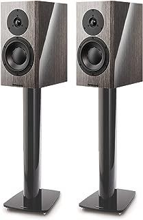 Dynaudio Special 40 Bookshelf Speakers - Pair (Grey Birch High Gloss) with Stand 6 Speaker Stands - Pair (Matte Black)