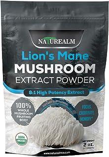 Lion's Mane Mushroom 8:1 Extract Powder - Natural Nootropic Supplement - Focus, Creativity, Memory - 100% Whole Mushrooms - USDA Certified Organic - 2oz. (57g)