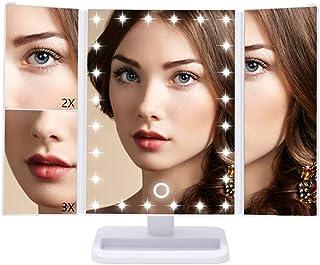 Qivange led 化粧鏡 卓上ミラー 三面鏡 ブライトミラー スタンドミラー 拡大鏡付き 折り畳み式 調光可能 回転可能 電池&USB 2WAY給電