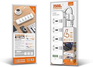 ليدنيو مشترك كهربائي 4 عين UK بمفاتيح منفصله لكل عين و أربع مخارج USB بقدرة 3.4 أمبير,17واط بجسم مضاد للحريق و كابل بطول 2...