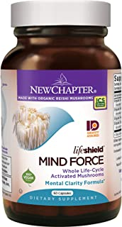 New Chapter Lion's Mane + Reishi Mushroom - LifeShield Mind Force for Mental Clarity with Organic Reishi Mushroom + Vegan ...