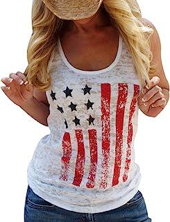 HRIUYI Women American Flag Vest T-Shirt Summer Sleeveless Casual Tee Tops