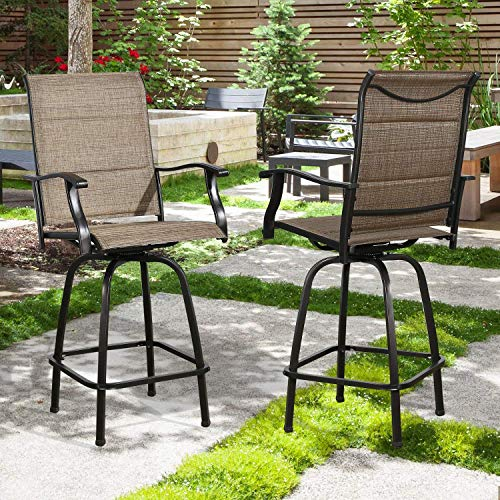 Outdoor Swivel Bar Stools Patio Bar Height Chairs Padded Sling Fabric, All Weather Patio Furniture, Set of Two