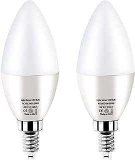RAYHOO Dusk to Dawn Night Light Bulb E12 Base LED Sensor Bulb 6W, Incandescent 60W Bulb Equivalent, Automatic On/Off Secur...