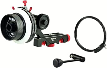 FILMCITY Follow Focus with Hard Stops Flexible Gear Belt Speed Crank 15 mm Rod for Camera DSLR Shoulder Mount Rig (HS-2)