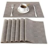 Peking Placemats Heat-Resistant Washable Plastic Placemat Woven Vinyl Table Mats for Dining Table Non-Slip, Set of 6