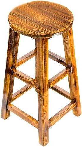 XING-ZI-stool C-K-P Tabouret en Bois rétro, Tabouret de Bar Tabouret de Bar Chaise Haute Tabouret de Bar (Taille   36  75cm)